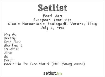 Pearl Jam Setlist Stadio Marcantonio Bentegodi, Verona, Italy, European Tour 1993