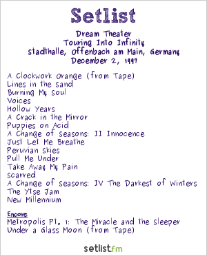 Dream Theater Setlist Stadthalle, Offenbach, Germany 1997, Touring Into Infinity