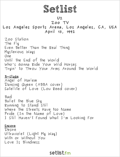 U2 Setlist Los Angeles Sports Arena, Los Angeles, CA, USA 1992, Zoo TV Tour