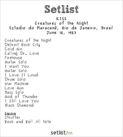 KISS Setlist Estádio do Maracanã, Rio de Janeiro, Brazil 1983, Creatures of the Night Tour