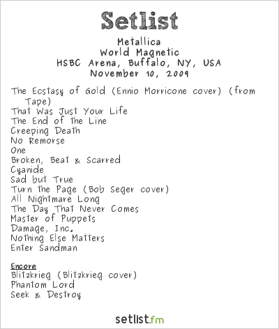 Metallica Setlist HSBC Arena, Buffalo, NY, USA 2009, World Magnetic