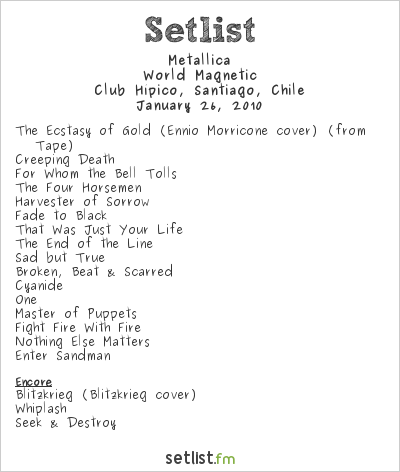 Metallica Setlist Club Hípico, Santiago, Chile 2010, World Magnetic
