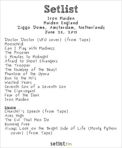Iron Maiden Setlist Ziggo Dome, Amsterdam, Netherlands 2013, Maiden England