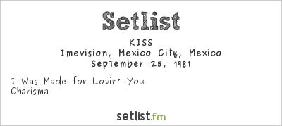 KISS Setlist Imevision, Mexico City, Mexico 1981