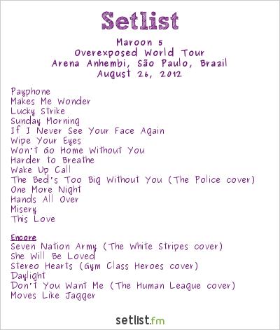 Maroon 5 Setlist Arena Skol Anhembi, São Paulo, Brazil 2012, Overexposed World Tour