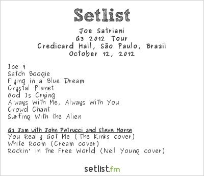 Joe Satriani Setlist Credicard Hall, São Paulo, Brazil, G3 South American Tour 2012