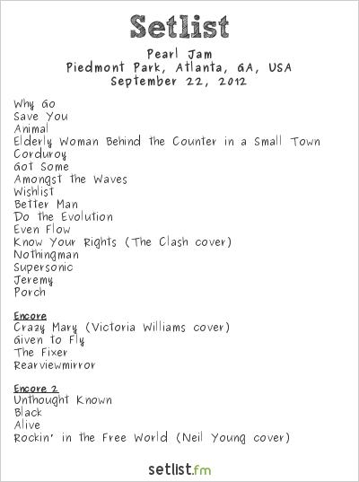 Pearl Jam at Music Midtown 2012 Setlist