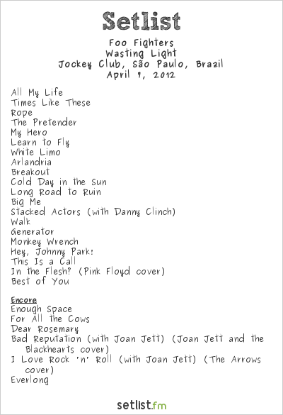 Foo Fighters Setlist Lollapalooza Brazil 2012 2012, Wasting Light