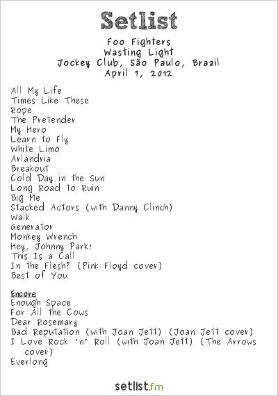 Foo Fighters Setlist Lollapalooza Brazil 2012 2012, Wasting Light