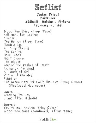 Judas Priest Setlist Jäähalli, Helsinki, Finland 1991, Painkiller