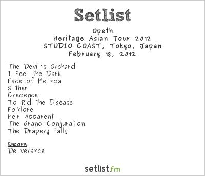 Opeth Setlist Shinkiba Studio Coast, Tokyo, Japan, Heritage Asian Tour 2012
