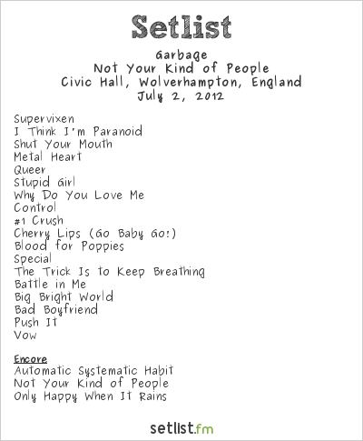 Garbage Setlist The Civic Hall, Wolverhampton, England 2012, Not Your Kind of People
