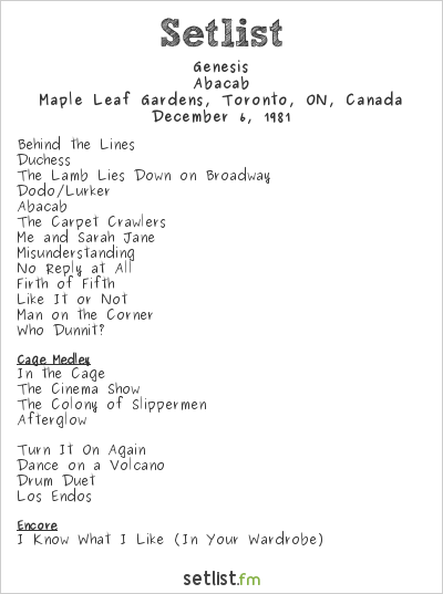 Genesis Setlist Maple Leaf Gardens, Toronto, ON, Canada 1981, Abacab Tour