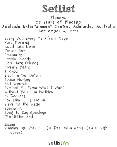 Placebo Setlist Adelaide Entertainment Centre, Adelaide, Australia 2017, 20 Years of Placebo