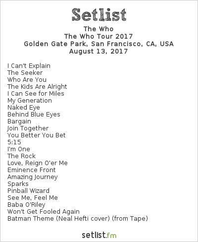 The Who Setlist Outside Lands Music & Arts Festival 2017, The Who Tour 2017