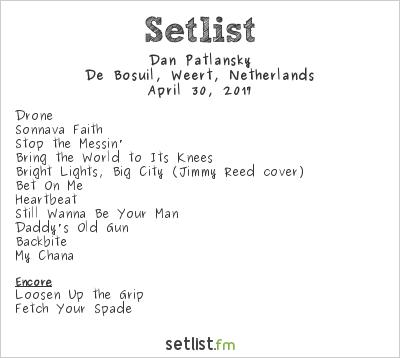 Dan Patlansky Setlist De Bosuil, Weert, Netherlands 2017