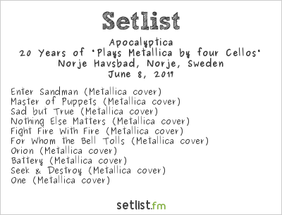 """Apocalyptica Setlist Sweden Rock Festival 2017 2017, 20 Years of """"Plays Metallica by Four Cellos"""""""