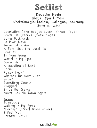 Depeche Mode Setlist RheinEnergieStadion, Cologne, Germany 2017, Global Spirit Tour