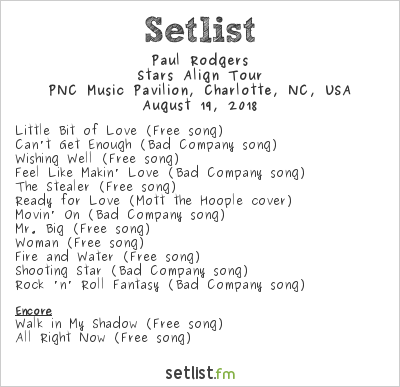 Paul Rodgers Setlist PNC Music Pavilion, Charlotte, NC, USA 2018, Stars Align Tour