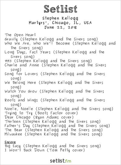 Stephen Kellogg Setlist Martyrs', Chicago, IL, USA 2018