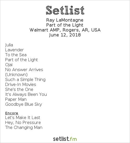 Ray LaMontagne Setlist Walmart AMP, Rogers, AR, USA 2018
