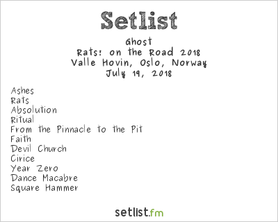 Ghost Setlist Valle Hovin, Oslo, Norway 2018, Prequelle