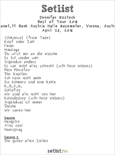 Jennifer Rostock Setlist Planet.tt Bank Austria Halle Gasometer, Vienna, Austria, Best of Tour 2018