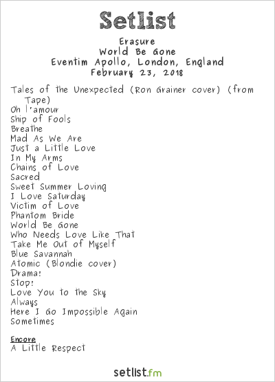 Erasure Setlist Eventim Apollo, London, England 2018, World Be Gone
