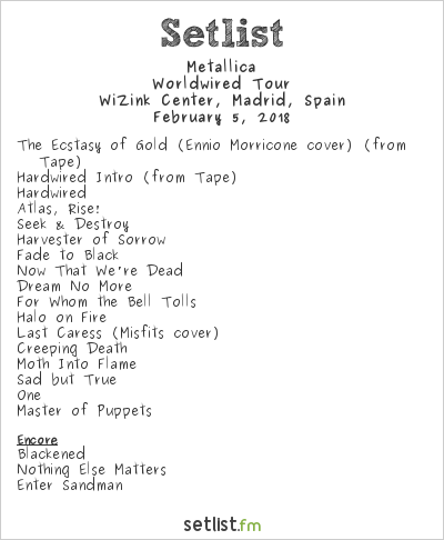 Metallica Setlist WiZink Center, Madrid, Spain 2018, WorldWired Tour