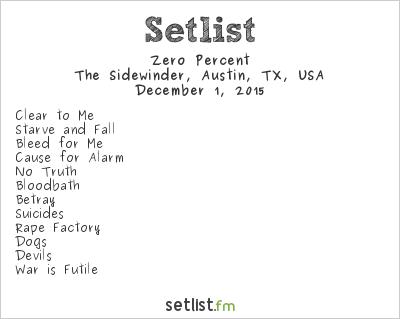 Zero Percent Setlist The Sidewinder, Austin, TX, USA 2015