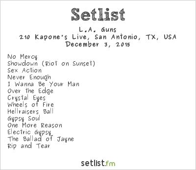 L.A. Guns Setlist 210 Kapone's Live, San Antonio, TX, USA 2015