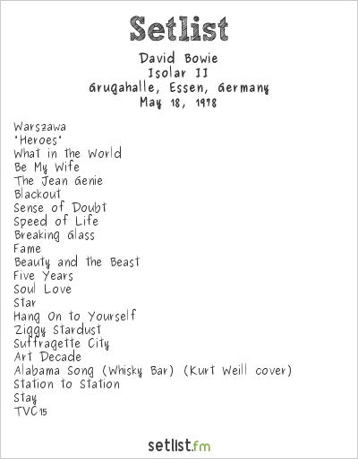 David Bowie Setlist Grugahalle, Essen, Germany 1978, Isolar II Tour