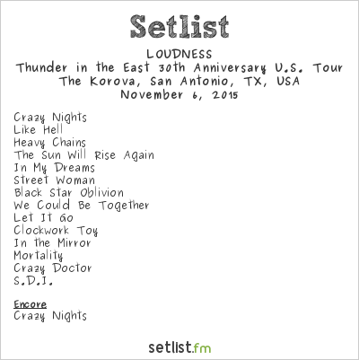 Loudness Setlist The Korova, San Antonio, TX, USA 2015, Thunder in the East 30th Anniversary U.S. Tour