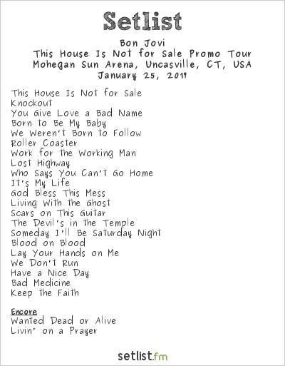 Bon Jovi Setlist Mohegan Sun Arena, Uncasville, CT, USA 2017