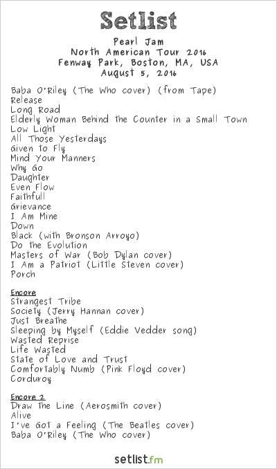 Pearl Jam Setlist Fenway Park, Boston, MA, USA 2016, 2016 North American Tour