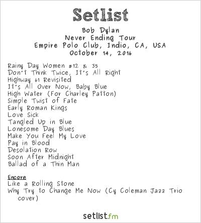 Bob Dylan Setlist Desert Trip 2016, Never Ending Tour