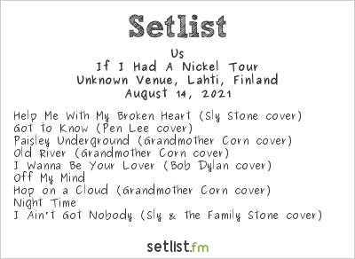 Us at Unknown Venue, Lahti, Finland Setlist