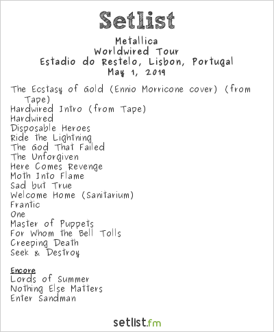 Metallica Setlist Estadio do Restelo, Lisbon, Portugal 2019, Worldwired Tour