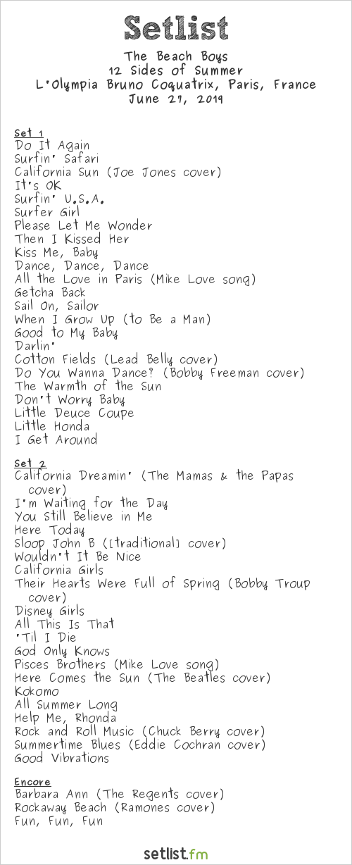 The Beach Boys Setlist L'Olympia Bruno Coquatrix, Paris, France 2019, Now & Then