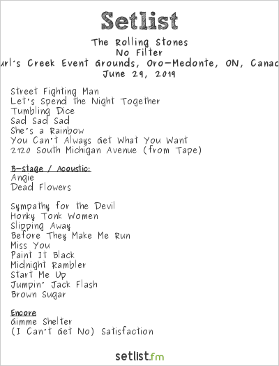 The Rolling Stones Setlist Burl's Creek Event Grounds, Oro-Medonte, ON, Canada 2019, No Filter