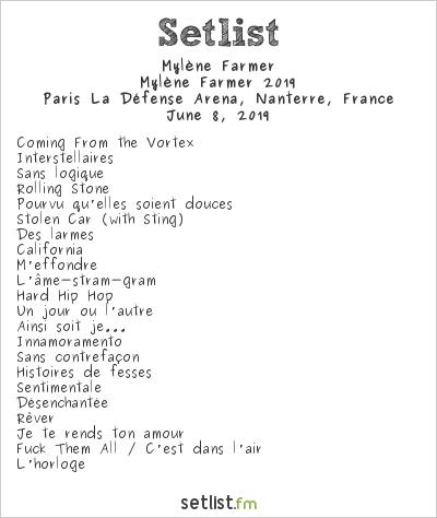 Mylène Farmer Setlist Paris La Défense Arena, Nanterre, France, Mylène Farmer 2019