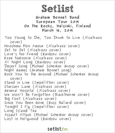Graham Bonnet Band Setlist On the Rocks, Helsinki, Finland 2019