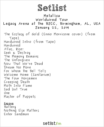 Metallica Setlist Legacy Arena at the BJCC, Birmingham, AL, USA 2019, Worldwired Tour