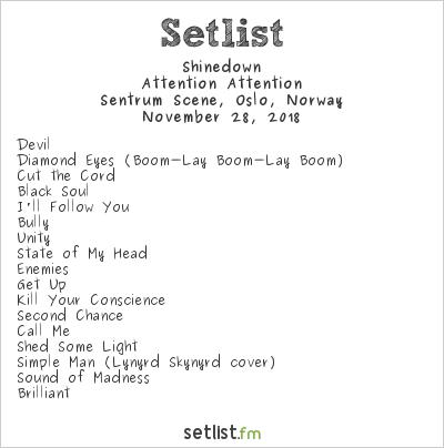 Shinedown Setlist Sentrum Scene, Oslo, Norway 2018, Attention Attention