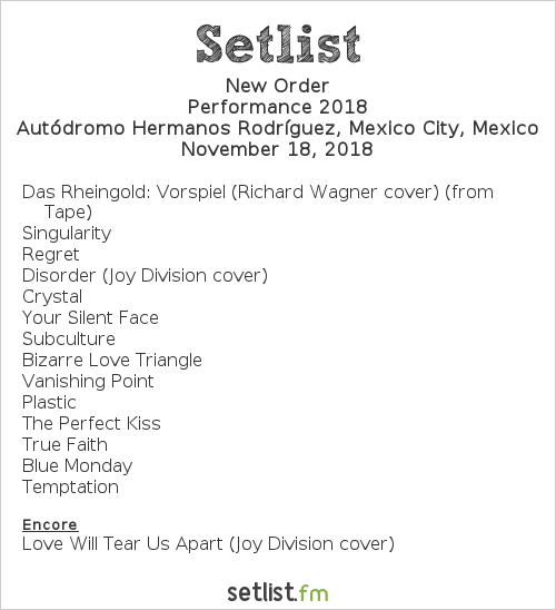 New Order Setlist Corona Capital 2018, Performance 2018
