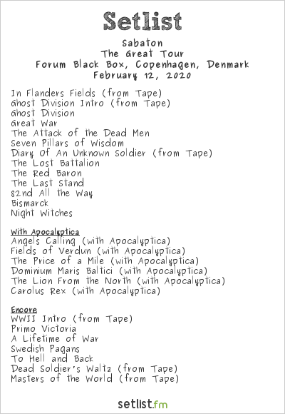 Sabaton Setlist Forum Black Box, Copenhagen, Denmark 2020, The Great Tour