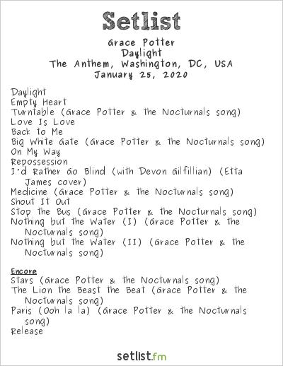 Grace Potter Setlist The Anthem, Washington, DC, USA 2020, Daylight