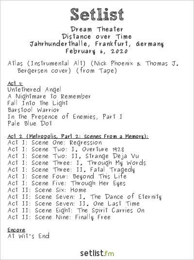 Dream Theater Setlist Jahrhunderthalle, Frankfurt, Germany 2020, Distance over Time
