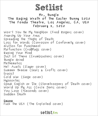 Mr. Bungle Setlist The Fonda Theatre, Los Angeles, CA, USA, The Raging Wrath of the Easter Bunny 2020