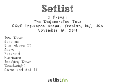 I Prevail Setlist CURE Insurance Arena, Trenton, NJ, USA 2019, The Degenerates Tour